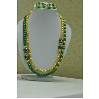 Beautiful Green And Gold Color Beaded Necklace