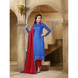 Sareemall Blue Embroidered Dress Material with Matching Dupatta CRT43010