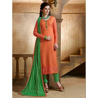 Sareemall Orange Embroidered Dress Material with Matching Dupatta CRT43012