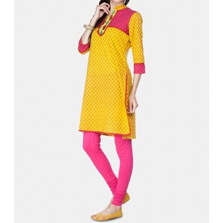 Yellow printed contrast with pink yoke kurti By The Darz iClub available at ShopClues for Rs.450