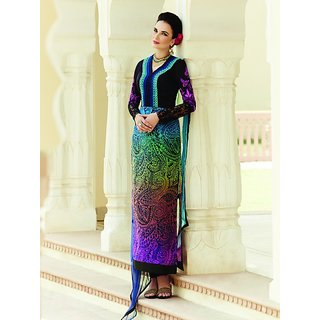 Sareemall Multi Designer Embroidered Semi-Stitched suit With Dupatta 5HER5407