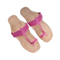 Ladies Kolhapuri Chappal With Designer Pink Patta JSMKCF0051