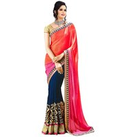 Janasya Multi Colored Saree With Unstitched Blouse