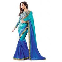 Janasya Blue Saree With Unstitched Blouse
