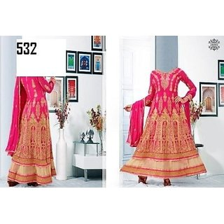 7 Colors Lifestyle Pink Coloured Georgette Semi-Stitched Anarkali Suit