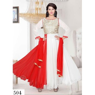 7 Colors Lifestyle White & Red Coloured Georgette Semi-Stitched Anarkali Suit