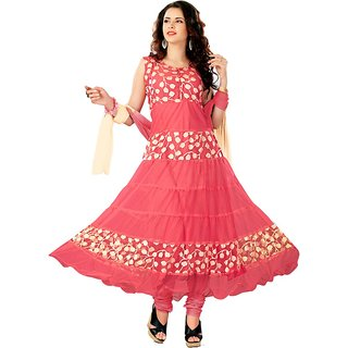 7 Colors Lifestyle Pink Coloured Net Brasso Semi-Stitched Anarkali Suit