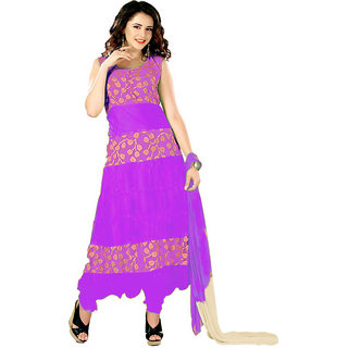 7 Colors Lifestyle Dark Pink Coloured Net Brasso Semi-Stitched Anarkali Suit