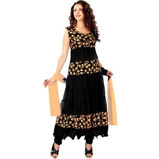 7 Colors Lifestyle Black Coloured Net Brasso Semi-Stitched Anarkali Suit
