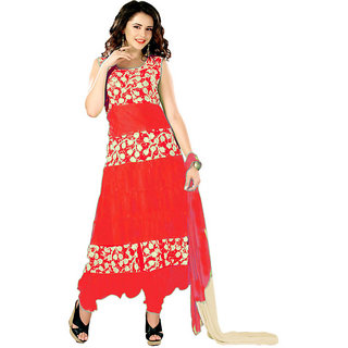 7 Colors Lifestyle Red Coloured Net Brasso Semi-Stitched Anarkali Suit