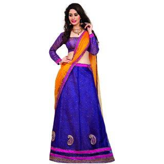 7 Colors Lifestyle Purple Coloured Net Embroidered Semi-Stitched Lehenga Choli