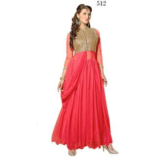 7 Colors Lifestyle Green Coloured Net Semi-Stitched Anarkali Suit