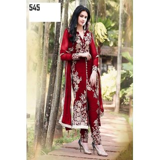 7 Colors Lifestyle Red Coloured Georgette Semi-Stitched Salwar Suit