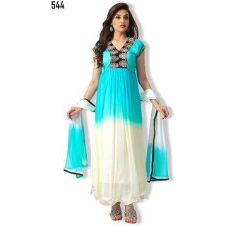 7 Colors Lifestyle White & Blue Coloured Georgette Semi-Stitched Anarkali Suit