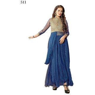 7 Colors Lifestyle Blue Coloured Net Semi-Stitched Anarkali Suit