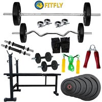 Fitfly 3 in 1 Bench(Black)+52kg Weight+5ft Plain& 3ft Curl Rod+ Gym Accessories