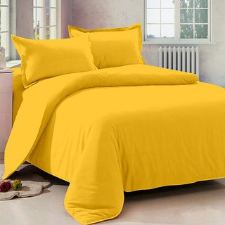 Story@Home 152 TC Cotton Musturd 1 Double Bedsheet With 2 Pillow Cover-FS1005