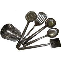 Stainless Steel Cutlery Holder + 5pcs. Stainless Steel Skimmer Set - Combo Pack