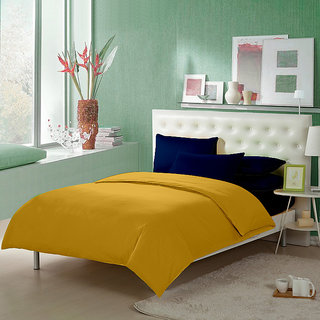 Story@Home 152 TC Cotton Mustard 1 Double Bedsheet With 2 Pillow Cover-FS1204
