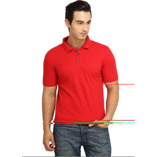 FIO Men's Red Polo Neck T-Shirt