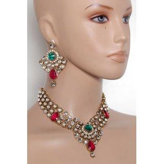 Shanaya Stunning Glass Crystal Traditional Jewelry Set - SAR006