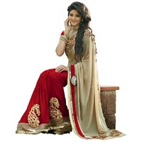 Janasya Redbrown Embroidered Raw Silk Saree Without Blouse
