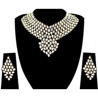 Zaveri Pearls GoldenWhite Alloy Silver Plated Necklace Set For Women