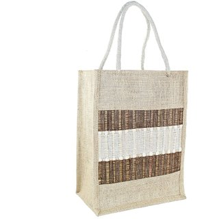 Mpkart Bamboo Chicks Broad Striped Casual, Outdoor Zip Jute, Cotton,bamboo Cream Medium Utility Bag