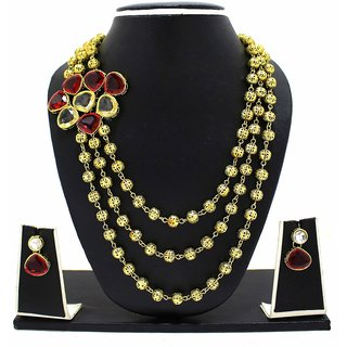 Zaveri Pearls Haram Kundan Necklace Set -ZPFK3497
