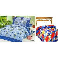 Combo Of Double Bed Blanket & Double Bedsheet With 2 Pillow Cover