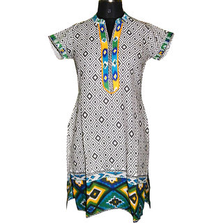 Faten Multi color short sleeves kurti