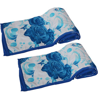 IndiWeaves Micro Fiber  Dohar/Ac Blanket  set for Single Bed (2 pieces)- Blue