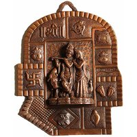Copper Plated Radha Krishna With Swastik OM Sree Wall Hanging Big Size