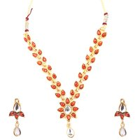 Studded Traditional Pink Hanging Necklace and set By GoldNera