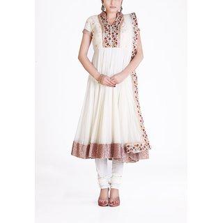 Almaree - Off White Embroidered Anarkali - Lucknow Work & Patti Border