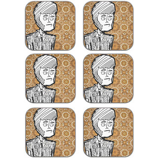 meSleep Scketched Face Wooden Coaster-Set of 6