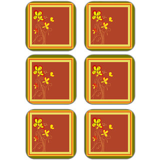 meSleep Flower Wooden Coaster-Set of 6