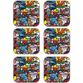 meSleep Ethnic Wooden Coaster-Set of 6
