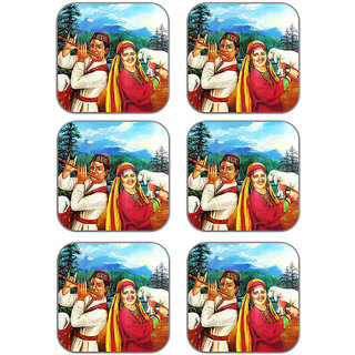 meSleep Kashmir Wooden Coaster-Set of 6