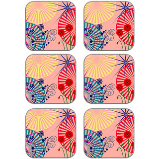meSleep Floral Pink Wooden Coaster-Set of 6