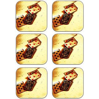meSleep Poker Wooden Coaster-Set of 6