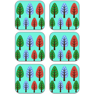 meSleep Trees Abstract Blue Wooden Coaster-Set of 6