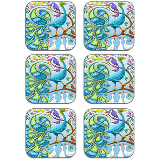meSleep Peacock Wooden Coaster-Set of 6