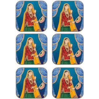 meSleep Lady Wooden Coaster-Set of 6
