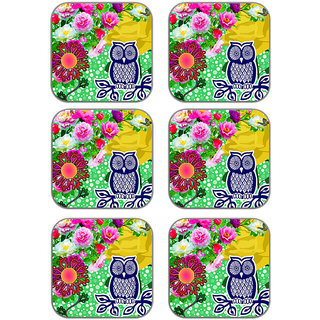 meSleep Owl Floral Wooden Coaster-Set of 6
