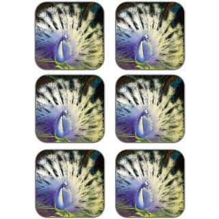 meSleep Peacock Wooden Coaster-Set of 6