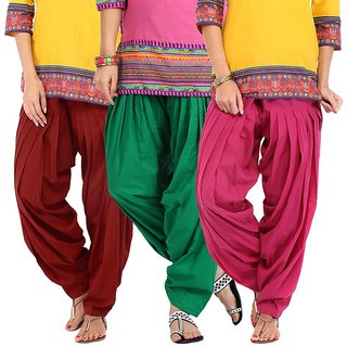 Stylobby Pink And Green Maroon Cotton Patiala Salwar Pack Of 3