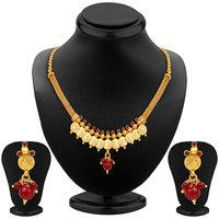 Sukkhi Ravishing Gold Plated Temple Jewellery Necklace Set