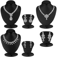 Sukkhi Silver Plated Silver Set Of 3 Piece Necklace Set For Women