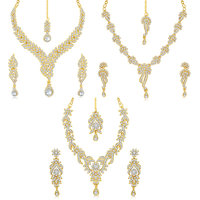 Sukkhi Goldensilver Gold Plated Combo Of 3 Pieces Necklace Set For Women